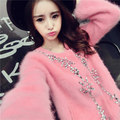 New winter long hair mink wool cardigan round collar short manually set auger mink wool coat