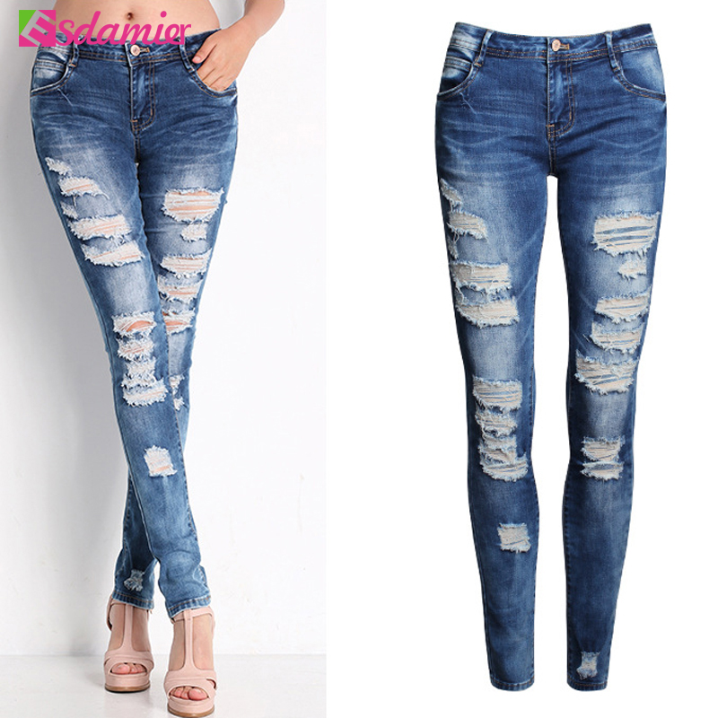 Fashion Jeans Woman Ladies Cotton Denim Pants Stretch Ripped Skinny Jeans Womens Bleach Denim Jeans Femme Low Waist Pencil Pants  rosicil hot fashion ladies cotton denim pants stretch womens bleach ripped hole knee skinny jeans denim jeans for female tps6628