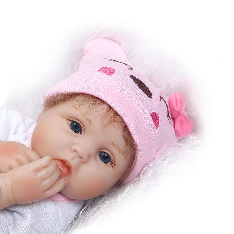 Nicery 16 18 дюймов 40 45 см Bebe Кукла Reborn Мягкая силиконовая игрушка для мальчиков и девочек Reborn Baby Doll подарок для детей розовый медведь прекрасный - 5