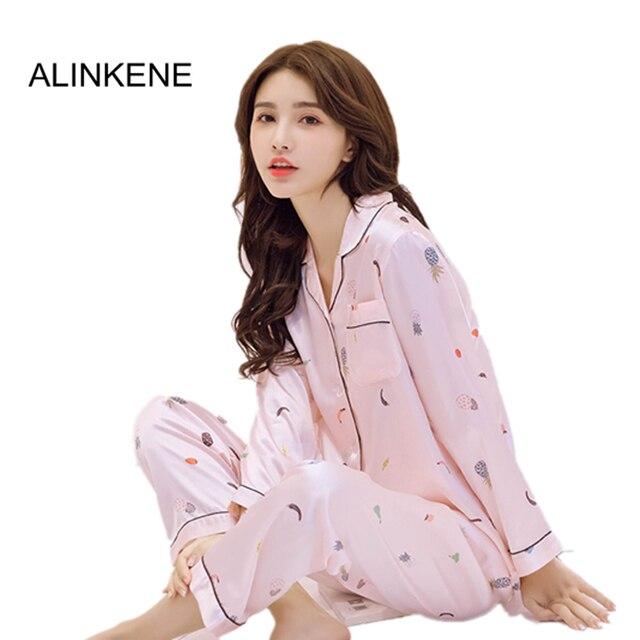 7acbba50df21 ALINKENE 2018 Spring Summer Pineapple Print Sexy Women Long Sleeve Cotton  Pajamas Suit Women Lounge Pajama Sets All Seasons