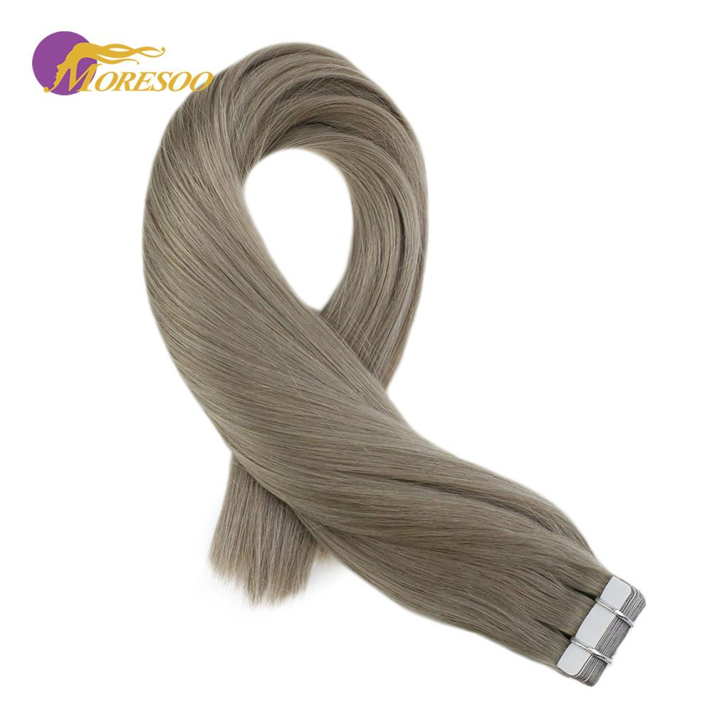 Moresoo Tape In Hair Extensions Machine Remy Brazilian Human Hair Extensions Sliver Gray Color #66 Glue In Hair 2.5g/pcs