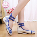 Sunflower embroidery cloth shoes Size(34-41) Red+Blue Chinese style national breathable comfortable soft sole Canvas