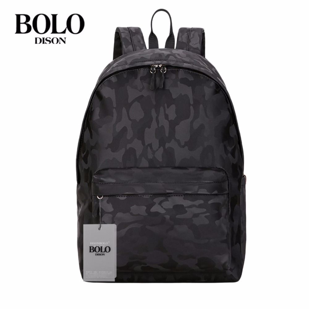 BOLO Men Backpack 15 Inches Black Camouflage Bag Waterproof Nylon Male Shoulder Bag For Outdoors Activities Travel Bags mochila large 14 15 inch notebook backpack men s travel backpack waterproof nylon school bags for teenagers casual shoulder male bag