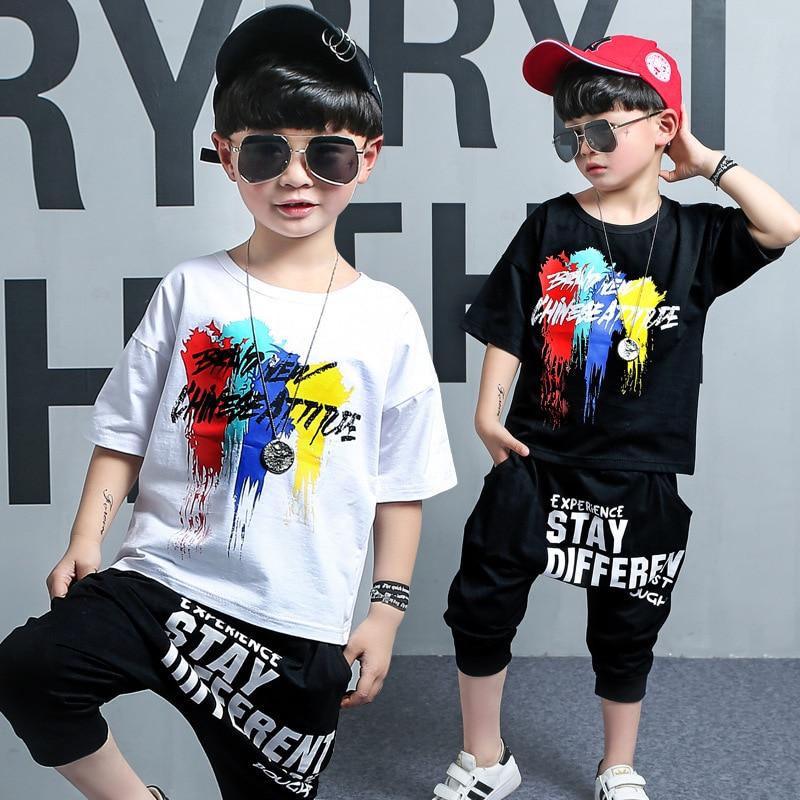Vêtements pour enfants 2019 nouveau été à manches courtes costume pour enfants en coton col rond impression t-shirt + pantalon 3-12 ans bébé garçon vêtements