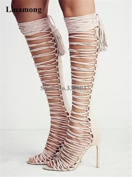 Women Summer Elegant Open Toe Suede Leather Stiletto Heel Knee High Gladiator Boots Straps Cross Long High Heel Sandal Boots