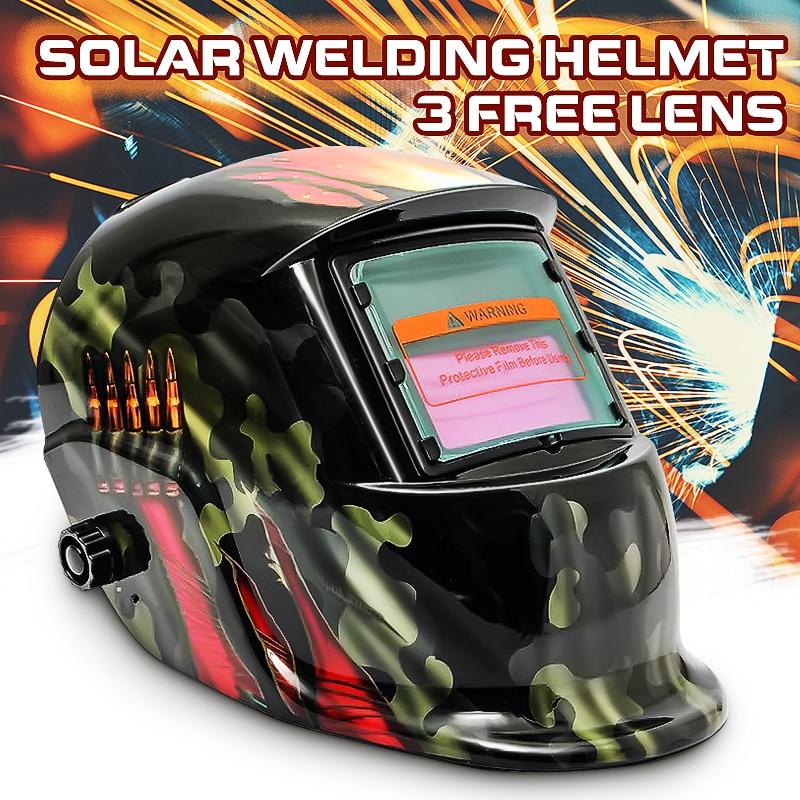 Hot Sale Welding Helmets With Adjustable Headband Solar Welding Mask Auto Darkening Welding Helmet Racing Track Camouflage|Welding Helmets| |  - title=