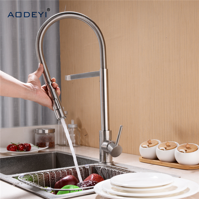 Double Mode 304 Stainless Steel Spring Kitchen Faucet Sink Mixer Tap Swivel Spout Mixer Tap Hot and Cold Water Torneira double bowl stainless steel kitchen sink with faucet tap evier fregadero de la cocina disipador lavello della cucina spoelbak ke