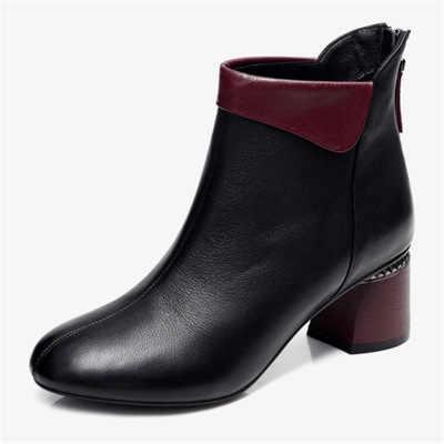 Yeni kadın botları 2019 sonbahar yüksek topuklu kadın ayak bileği ayakkabı boyutu 35-42 bahar botları moda ofis deri çizmeler