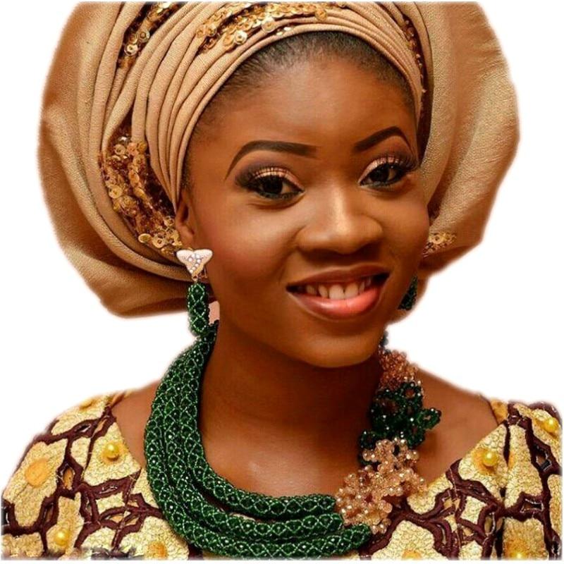 Ensembles de bijoux fantaisie pour mariage vert nigérian ensembles de perles pour femmes 3 couches ensembles de bijoux africains livraison gratuite 2018 mode