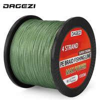 DAGEZI 4 strands 1000m 100% PE Braided Fishing Line 10-80LB Super Strong Japanese 6 colors Multifilament brand fishing lines