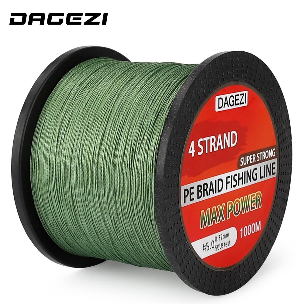 DAGEZI 4 strands 1000m 100% PE Braided Fishing Line 10-80LB Super Strong Japanese 6 colors Multifilament brand fishing lines цена 2017