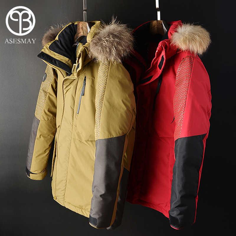 Asesmay 2018 chaqueta de plumón para hombre abrigo de invierno parka gruesa cálida pluma de ganso blanco pato gris abajo chaquetas sudaderas con capucha de piel collar