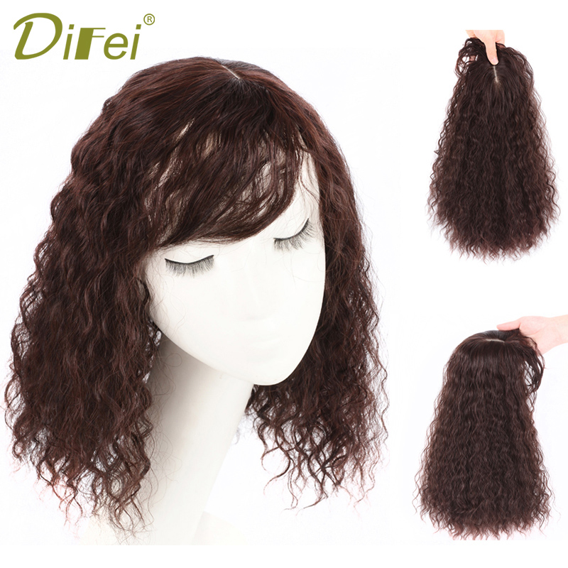 DIFEI Women Natural Color Corn Hot Hair Bang Fringe Top Closures Hairpins 35CM Synthetic Hair Clip In Toupee Hairpieces