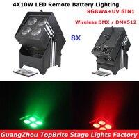 Factory Direct Offer 8 Unit DJ Design Uplights DMX512 4X10W RGBWA UV LED Remote Battery Light