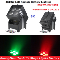 Factory Direct Offer 8 Unit DJ Design Uplights DMX512 4X10W RGBWA UV LED Remote Battery Light