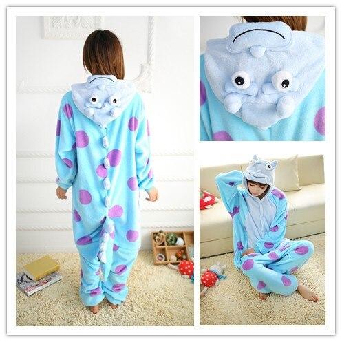 Pares de la manera animal de la historieta pijamas Traje De Halloween para las mujeres adultas onesie Pijama de dormir de las señoras de lana ocasional mono