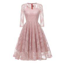 Vintage Sexy Lace Dress Women Autumn 2018 Zipper Solid Slim Prom Big Swing  Best Selling Evening Hollow Chic Flower Girl Dresses 1f9f486fdf2b