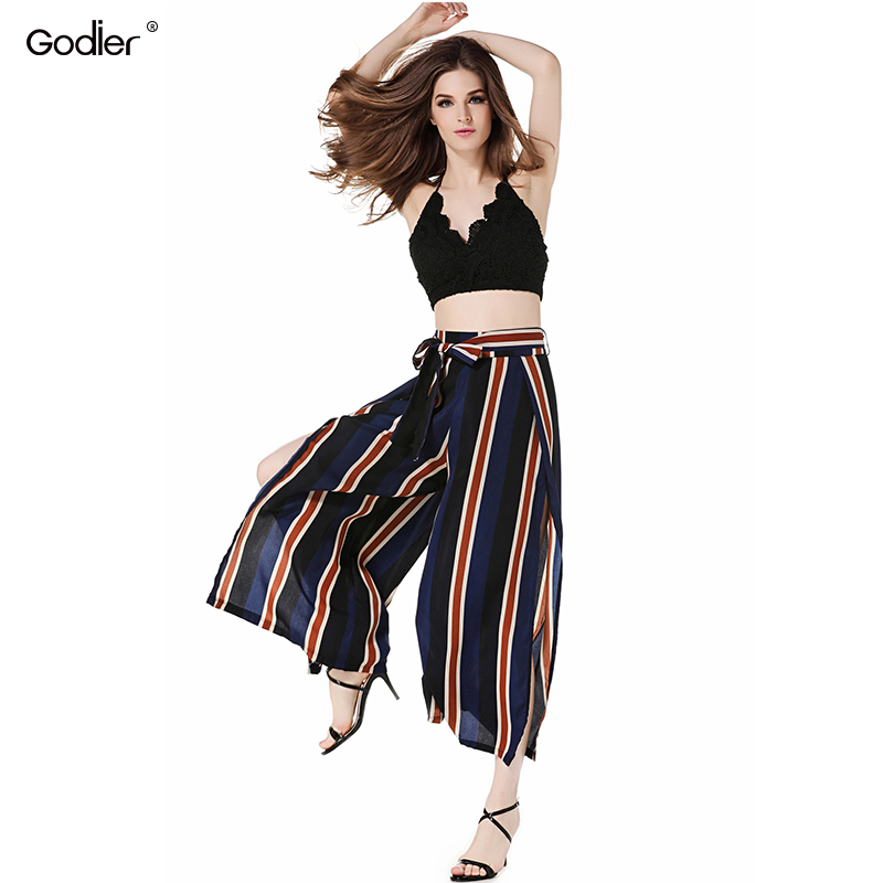 Godier Summer Women Wide Leg Pants Sexy Slit Lace Up Striped Split Loose Trousers Casual Beachwear On Holiday Capris