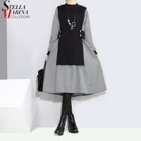 2017 Korean Style Fake Two Pieces Dress Suit Women Gray Plaid Dress Black Vest Jointed Female