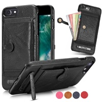For Iphone 6 6s 7 Plus Case Original Leather Cases Card Pocket Mini Stand Holder Cover