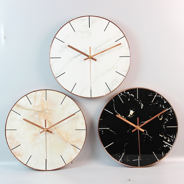 Minimalist Nordic marble wall clock creative home bedroom silent quartz clock 35 CM