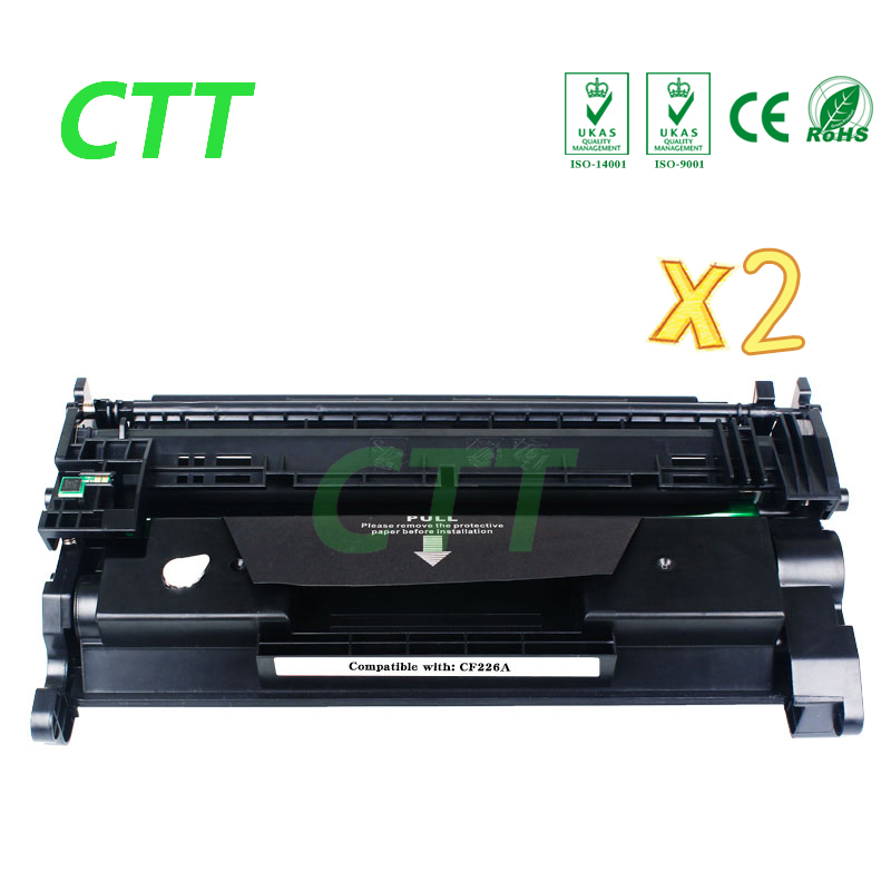 26A CF226A (2 Pack) Toner Cartridge Compatible for HP LaserJet Pro M402n M402d M402dn M402dw MFP M426dw printer cf230a black compatible toner cartridge for hp laserjet m203d m203dn m203dw laserjet pro mfp m227fdn m227fdw no chip