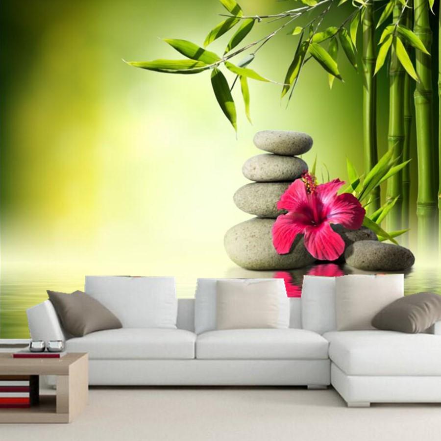 Custom Wallpaper For Walls 3d,Stones Hibiscus Bambusoideae Spa Wallpapers,living Room Tv Background Sofa Wall Bedroom 3d Mural