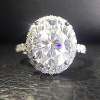 4,2 карат ct 9,5 мм овальным вырезом Обручение и свадьбы муассанит кольцо с бриллиантом двойной Halo Кольцо Подлинная 14 К 585 белое золото для Для ж