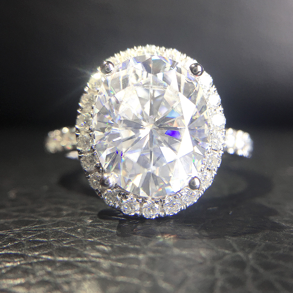 Engagement Rings With Moissanite: 4.2Carat Ct 9.5mm Oval Cut Engagement&Wedding Moissanite