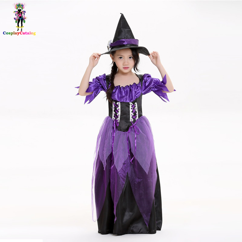 Perfect Purple Girl Witch Costume Halloween Fancy Dresses For Children Wondrous Cosplay Witch Princess Costumes Size SML