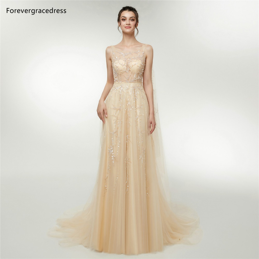 Forevergracedress A Line   Prom     Dresses   2019 New Arrival Sequins Sleeveless Backless Formal Party Gowns Plus Size Custom Made
