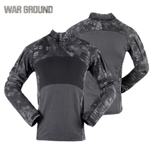 Tactical Military Shirt Mens Long Sleeve Soldier Army Uniform Camouflage T-Shirt