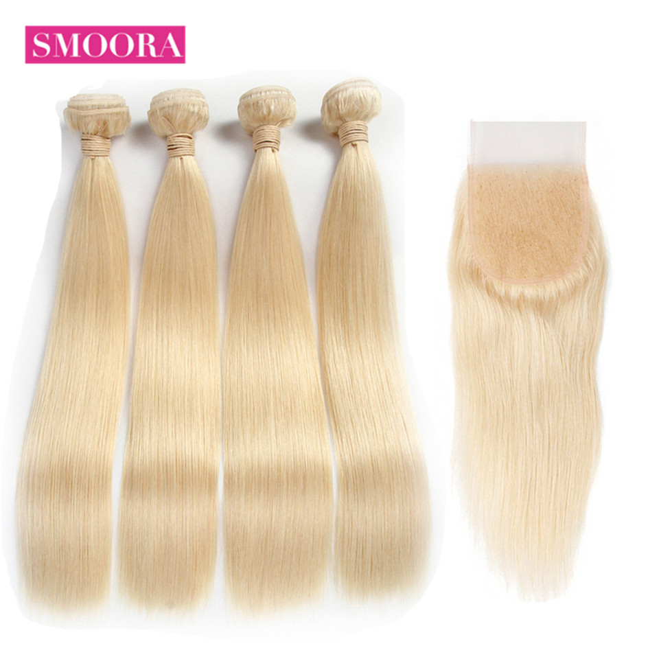Smoora Brazilian Remy Straight 613 Blonde Hair 4 Bundles With Closure For Hair Salon High Ratio Longest Hair Color 613 Blonde