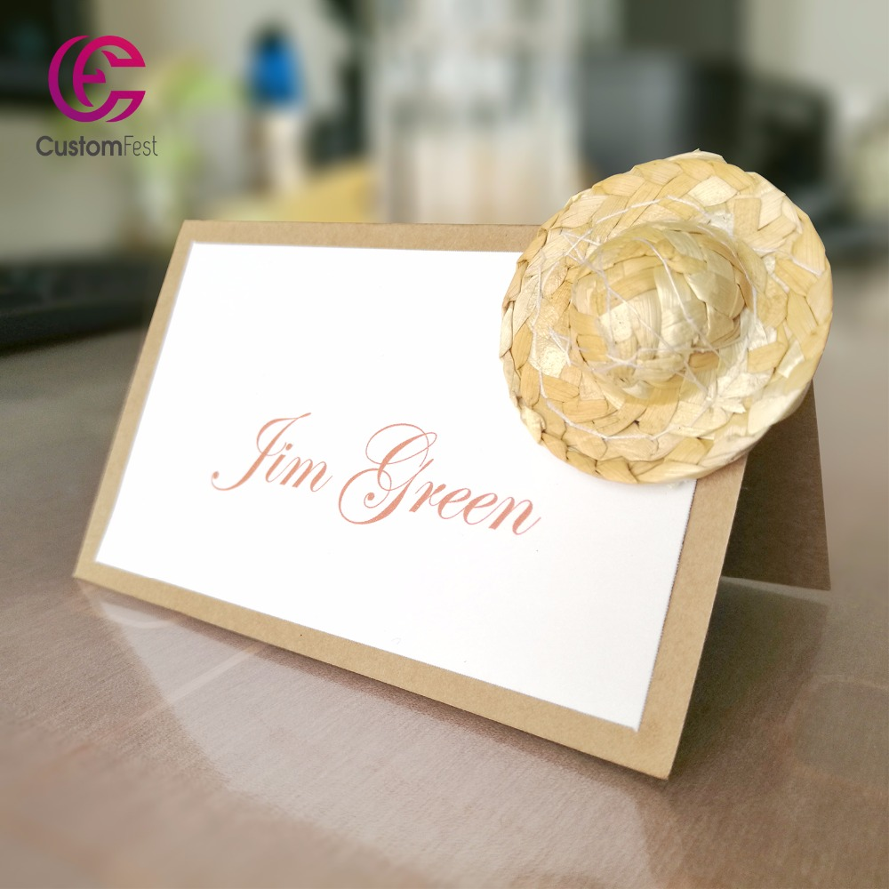 Us 17 99 30pcs Lot Diy Place Card Name Card For Party And Wedding Rustic Theme Straw Hat Craft Place Card In Cards Invitations From Home Garden