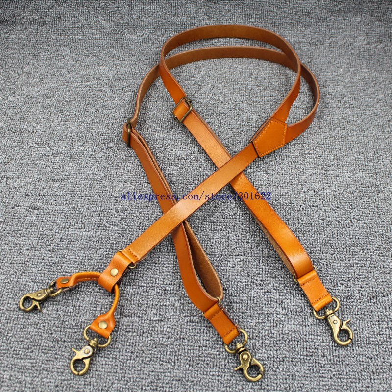 1.7cm High Quality Real Cowhide Split Leather Strap Women Men Unisex Hook Suspenders