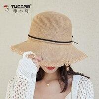 Beach Hat Female Seaside Sunscreen Straw Hats Women Breathable Holiday Elegant Leisure Korean Visor Cap Lady Tassel Caps H194