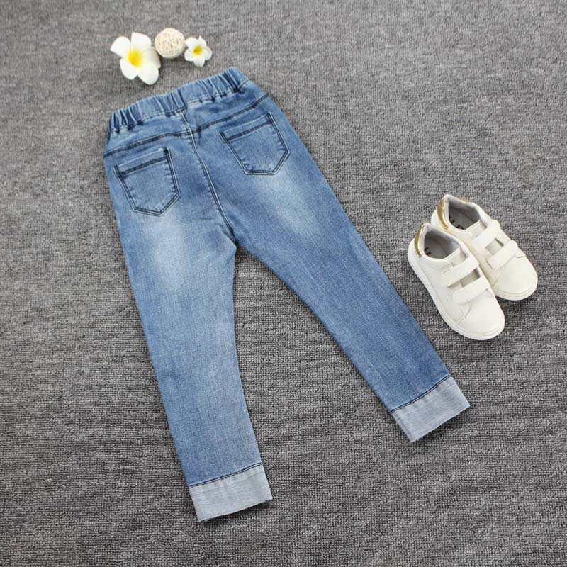 077a46a11 Girls Black blue Jeans 2018 Autumn Baby Girls Pants Slim Skinny Kids ...