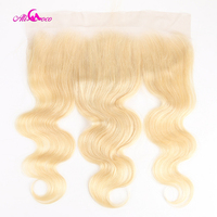 Ali Coco Brazilian Body Wave 613 Blonde Lace Frontal Closure 13x4 Free Part 100% Human Hair Remy Hair Frontal Closure Extensions