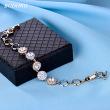 BUDONG 2017 Luxury Chain Bracelet for Women Luxury Three Big Round Crystal Silver/Gold-Color Bangle Wedding Jewelry