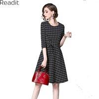 Readit Printed Skater Dress Female Half Sleeve Belted Women Rockabilly Dresses Elegant Vintage Fit And Flare