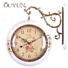 ouyun round wood wall clock vintage home decor double sided wall clock modern design roman numeral