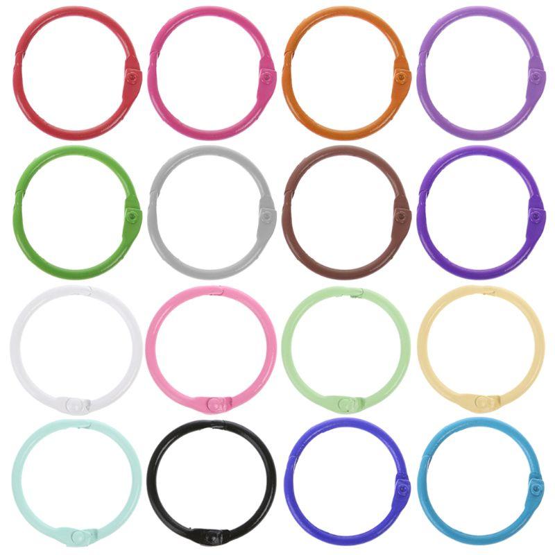 2020 New 6 Colors 10pcs Metal Loose Leaf Binder Ring Book Hoops DIY Albums School Office Supplies Craft