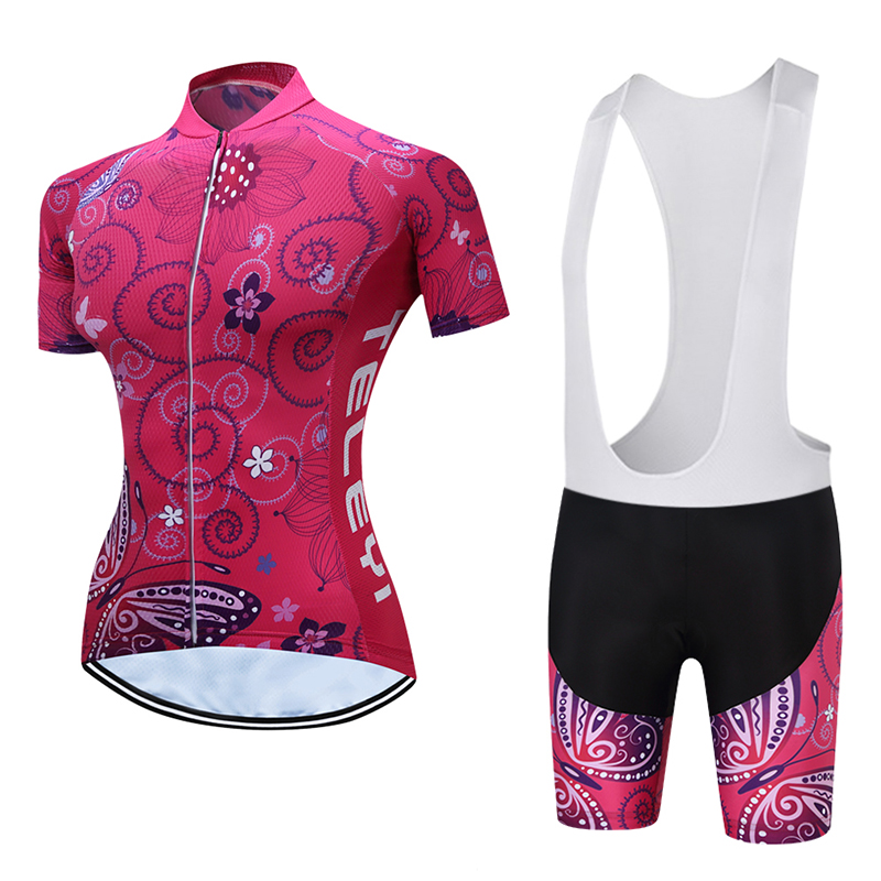 2018TELEYI  High Quality Women's MTB Bike Quick Dry Jersey Shorts Padded Summer Sports Shirt Tops Cycling Clothing Ropa Ciclismo