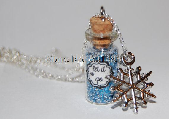 12pcs/lot Handmade Glass Bottle Necklace let it go message silver necklace