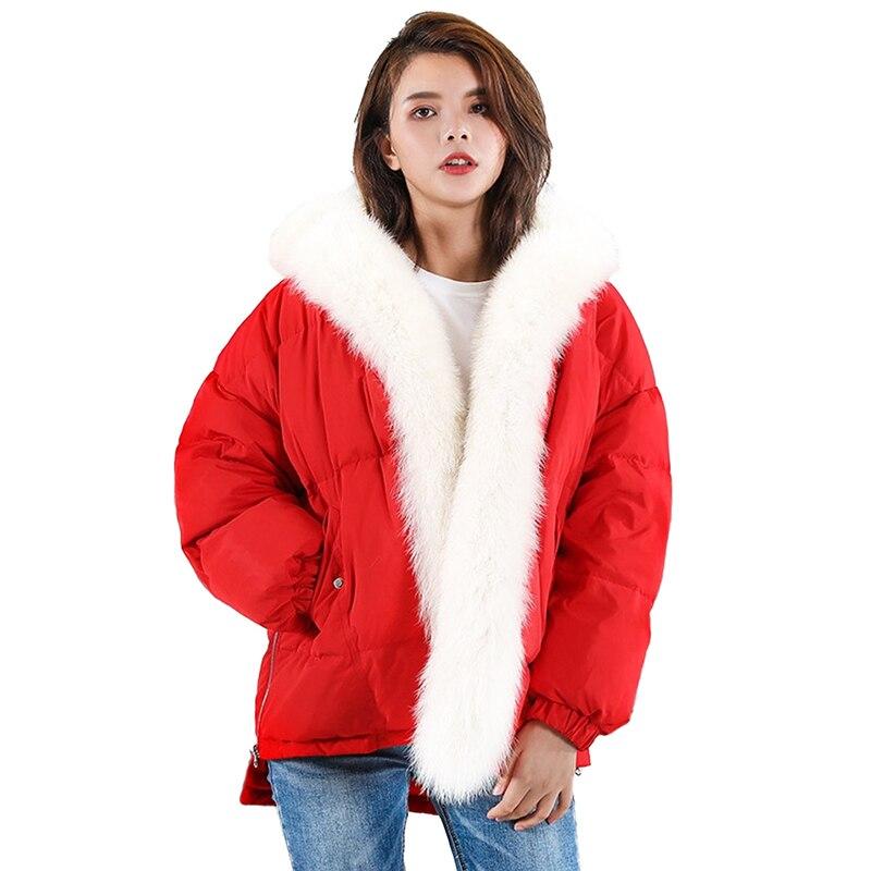 New Winter Down jacket for Women Short Parkas Big Fox fur collar Thick Warm Tops Students White duck down Coat Female OKXGNZ2243