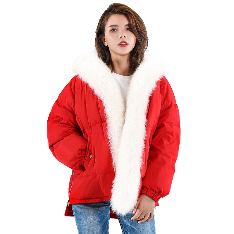 New Winter   Down   jacket for Women Short Parkas Big Fox fur collar Thick Warm Tops Students White duck   down     Coat   Female OKXGNZ2243