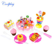 Coolplay 70pcs Set DIY Fruitcake Cookware Set Fruit Birthday Cake Children Play House Toys Kitchen Kid