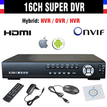 New CCTV AHD DVR 16 Channel H.264 960h 16ch SDVR/NVR/HVR 4in1 Video Recorder Super DVR support Onvif 1080P HDMI Output