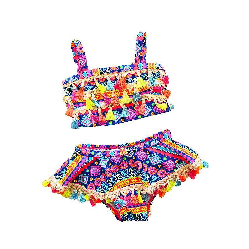 2019 Infant Girls Swimwear for Children Tassel Geometric Baby Swimsuit 2 Pieces Toddler Girl Beach
