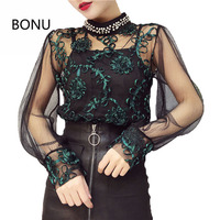 BONU Sexy Perspective Women S Shirt Hook Floral Lace Blouses Beading Pearl Spliced Women S Blouse